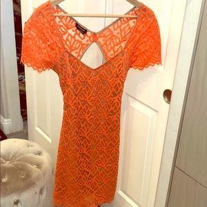 Bebe Orange lace detail dress